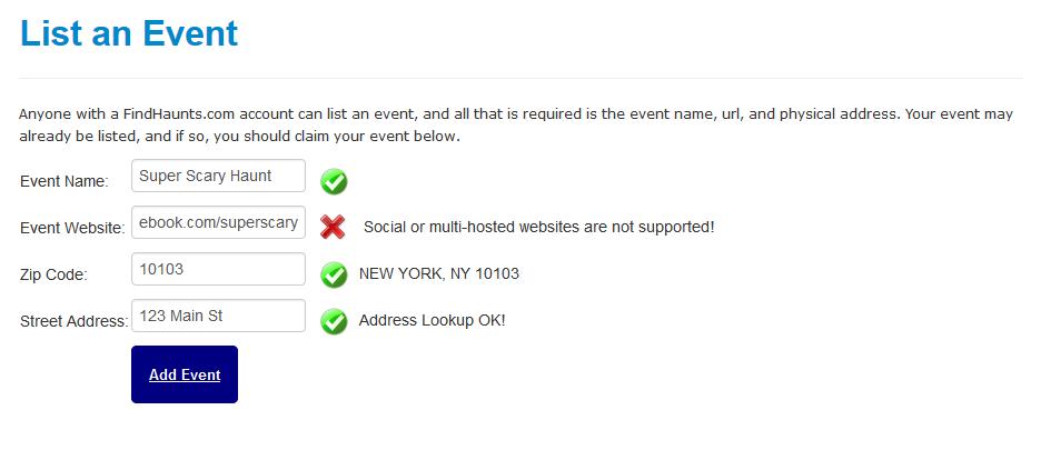 Social / Free Listing Error